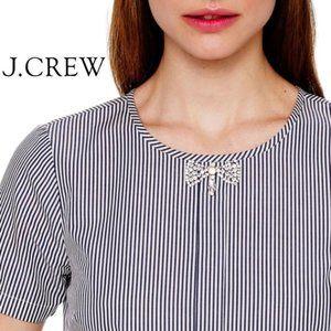 J Crew Blue White Stripe Jeweled bow detail top 0